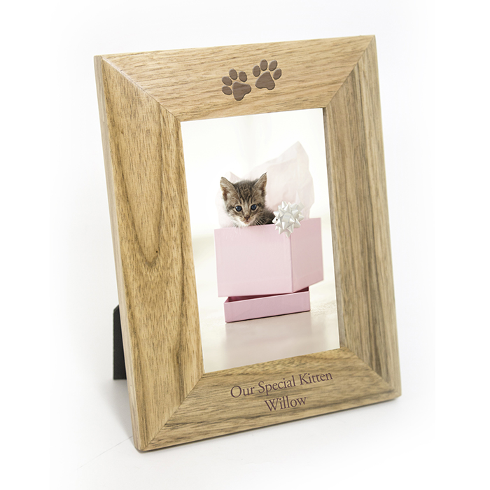 6x4 Oak Paw Prints Photo Picture Frame Personalised Present Gift